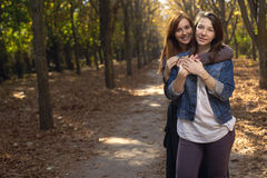Portrait of girlfriends outdoors Royalty Free Stock Images