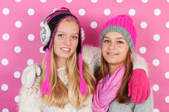 Portrait girlfriends in winter Royalty Free Stock Image