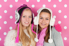 Portrait girlfriends in winter Royalty Free Stock Images
