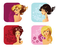 Portrait of a girls. Vector colorful portrait of a girls with hair-styling Stock Images