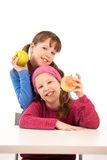 Portrait of girls with apples Royalty Free Stock Photos