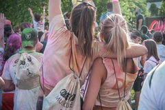 Portrait of girls with backpack at Colore Mulhouse 2017 Royalty Free Stock Photos