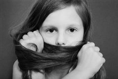 Portrait girls covers her face with hair Royalty Free Stock Photo