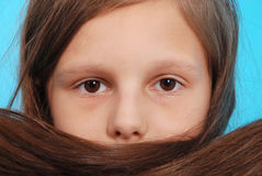 Portrait girls covers her face with hair Stock Photo