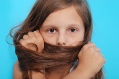 Portrait girls covers her face with hair Stock Photos