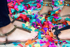 Portrait of girls feet at a party. Close up portrait of girls feet at a party Royalty Free Stock Image