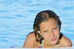 Portrait girls  near swimming-pool Stock Image
