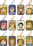Portrait girls set. Set of labels with faces of girls Stock Image