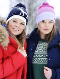 Portrait girls on the street in winter Royalty Free Stock Photos