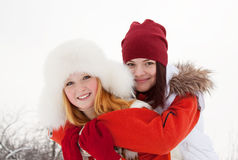 Portrait of   girls in winter Stock Image