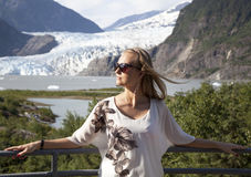 Portrait With The Glacier Royalty Free Stock Photography