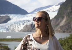 Portrait With The Glacier Stock Photo