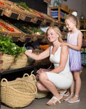 Portrait of glad woman and girl buying greens Stock Photography