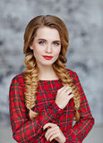 Portrait of a glamorous beautiful smiling girl with bright makeu Royalty Free Stock Photo
