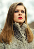 Portrait of the glamorous brunette in fur coat Stock Images