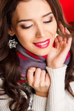 Portrait of a glamorous brunette girl with evening make up and long lashes Stock Image