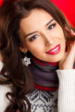 Portrait of a glamorous brunette girl with evening make up and long lashes Royalty Free Stock Images