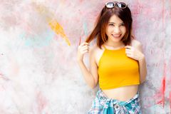 Portrait glamour cheerful woman. Attractive beautiful woman feel stock photography