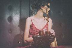Portrait of glamour girl with cup of coffee Royalty Free Stock Photos