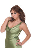 Portrait of  glamour woman in green dress Royalty Free Stock Images