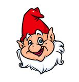 Portrait gnome red cap cartoon illustration Royalty Free Stock Photography