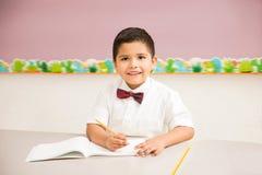 Happy kid attending preschool royalty free stock photos