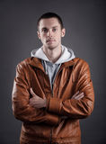 Portrait of a good looking man in classic leather jacket Royalty Free Stock Photos