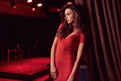 Gorgeous beauty young brunette woman wearing red dress Royalty Free Stock Photos
