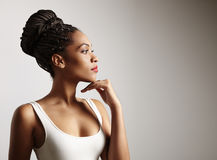 Portrait of a gorgeous black woman. Black woman profile in studio shoot royalty free stock images