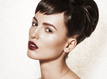 Portrait of gorgeous brunette with elegant makeup Stock Photography