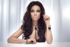 Portrait of gorgeous brunette lady. Royalty Free Stock Images