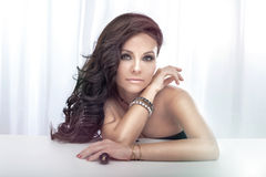 Portrait of gorgeous brunette lady posing. Royalty Free Stock Photos