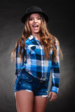 Portrait of gorgeous country woman girl. Fashion. Royalty Free Stock Photography