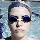 Portrait of gorgeous female swimmer ready for olimpic gamesF. Groges serious concentrated swimmer ready to go Royalty Free Stock Photo