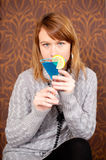 Portrait of gorgeous girl with cocktail Stock Photos