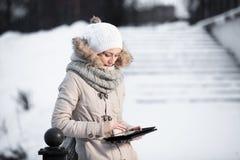 Portrait of gorgeous girl wearing winter fashion stock photo