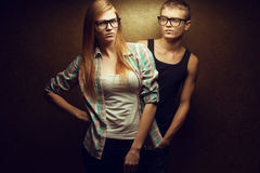 Portrait of gorgeous red-haired (ginger) fashion twins Stock Image