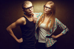 Portrait of gorgeous red-haired (ginger) fashion twins Royalty Free Stock Photo