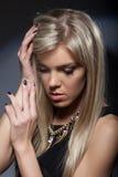 Portrait of gorgeous sad blonde, close-up Stock Photos