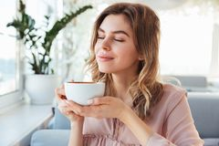 Portrait of gorgeous smiling lady smelling and drinking cappucci. No from cup while resting in restaurant in morning Royalty Free Stock Image