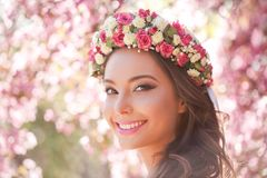 Gorgeous spring makeup woman. Portrait of a gorgeous spring woman outdoors in nature Stock Image