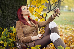 Portrait of a gorgeous woman in the autumn park. Stock Images