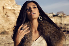 Portrait of gorgeous woman with long dark hair wears fur Stock Image