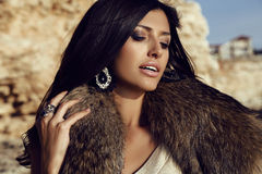 Portrait of gorgeous woman with long dark hair wears fur Royalty Free Stock Photo