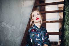 Portrait of beautiful woman having make up and red lips. stock photos
