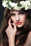 Portrait of Gorgeous Woman with Wreath of Flowers Royalty Free Stock Photos