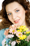 Portrait Gorgeous Women With Flowers Royalty Free Stock Photography