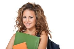 Gorgeous young brunette student girl. Royalty Free Stock Images