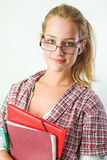 Portrait of a gorgeous young student girl. Stock Photos
