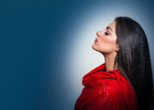 Portrait of Gorgeous Young Woman with Closed Eyes, Profile On Bl Stock Photography